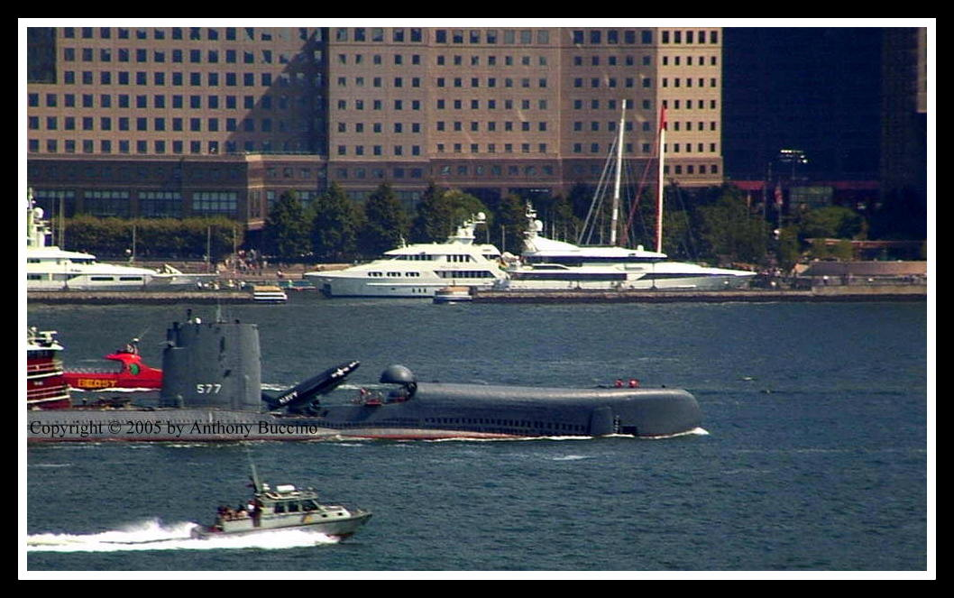 Submarine races on the Hudson River near Jersey City.